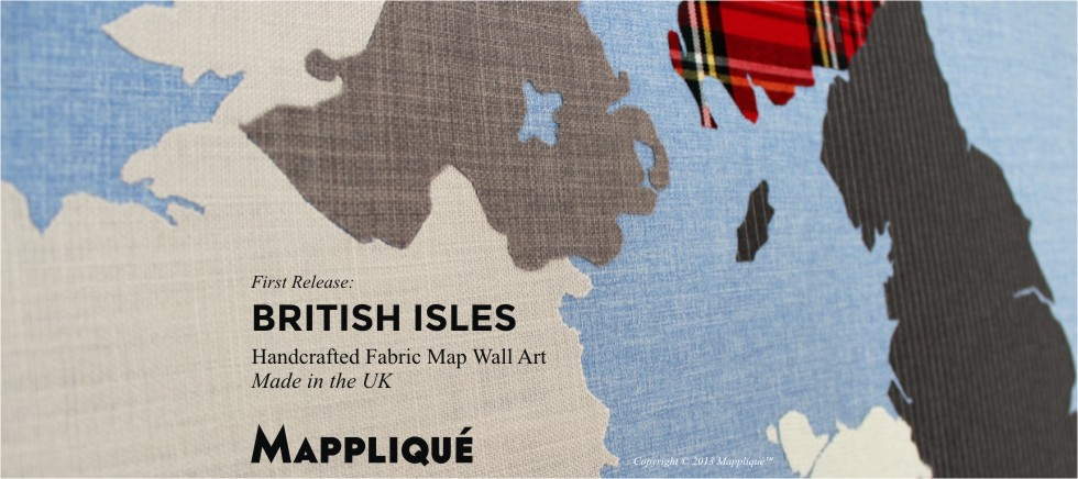 British Isles Mappliqué Handcrafted Fabric Wall Art Made in the UK