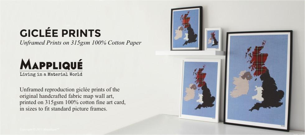 Giclee Prints British Isles Fabric Map Wall Art