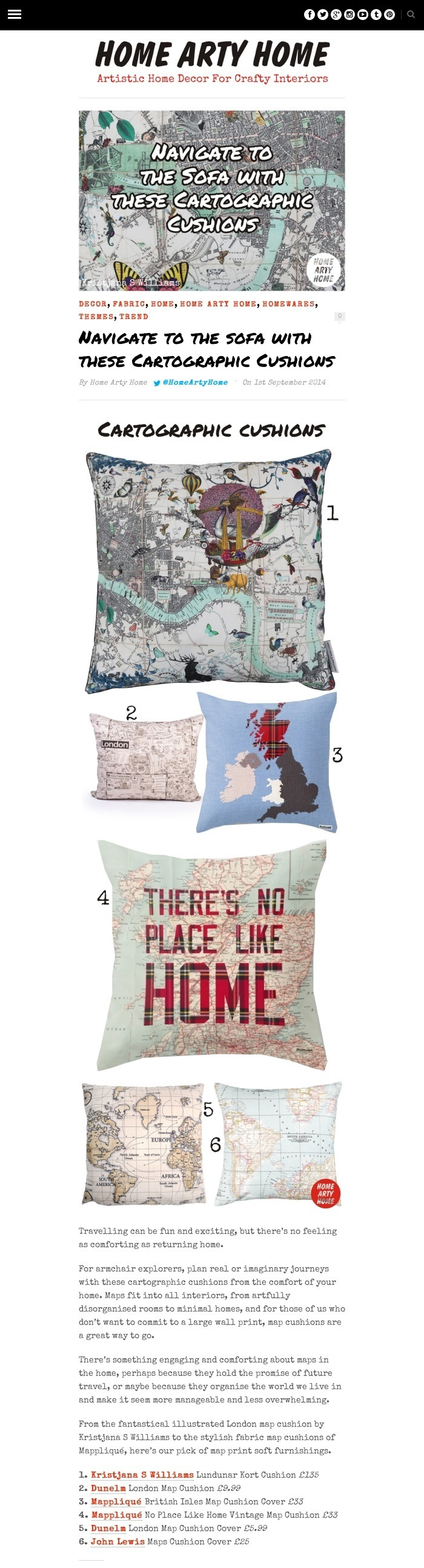 Navigate to the sofa with these Cartographic Cushions -Home Arty Home