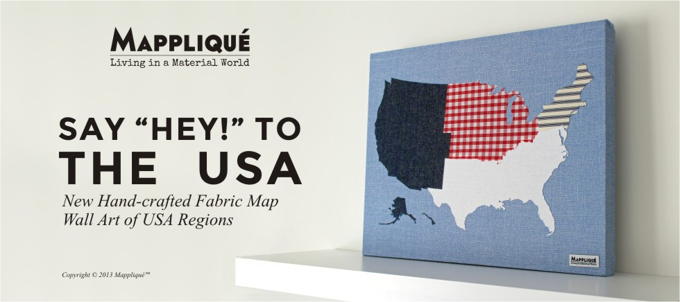 Say Hey! to the USA - USA Regions Fabric Map Wall Art - Mappliqué