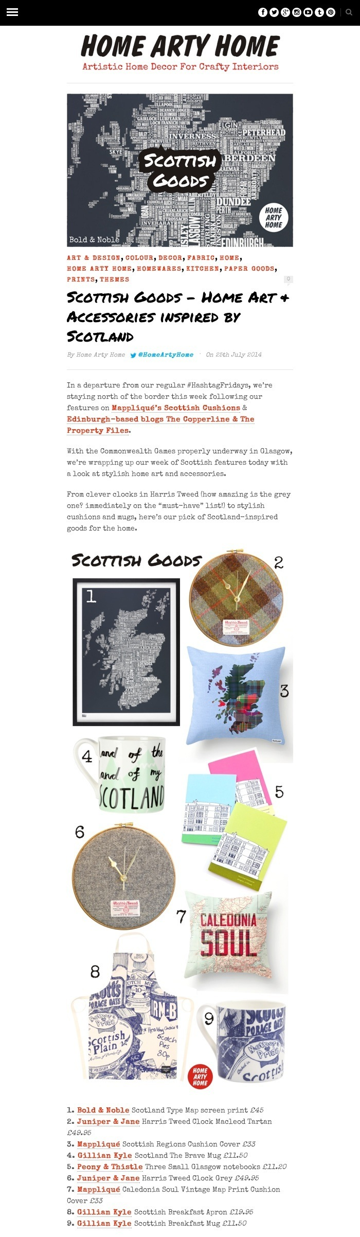 Scottish Goods Home Arty Home