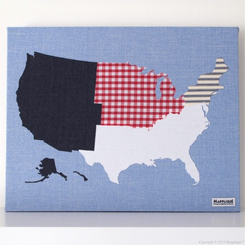 USA Regions Fabric Map Wall Art - Mappliqué