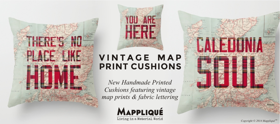Vintage Map Print Cushions Home