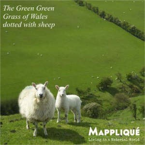 Wales Sheep - Welsh Wool - The Green Green Grass for Wool - Mappliqué