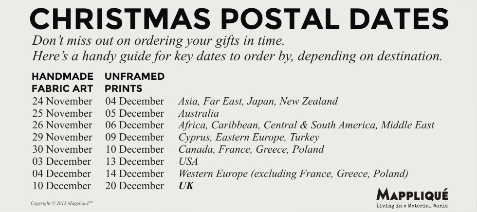 Christmas Postal Dates - Mappliqué - www.mapplique.com -  Don't miss out on ordering your gifts in time. Here's a handy guide for key dates to order by, depending on destination.